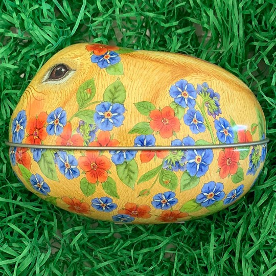 "Yellow Bunny and Flowers Metal Easter Egg Tin ~ 4-1/4"" tall"