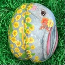 "Grey Bunny and Yellow Flowers Metal Easter Egg Tin ~ 4-1/4"" tall"
