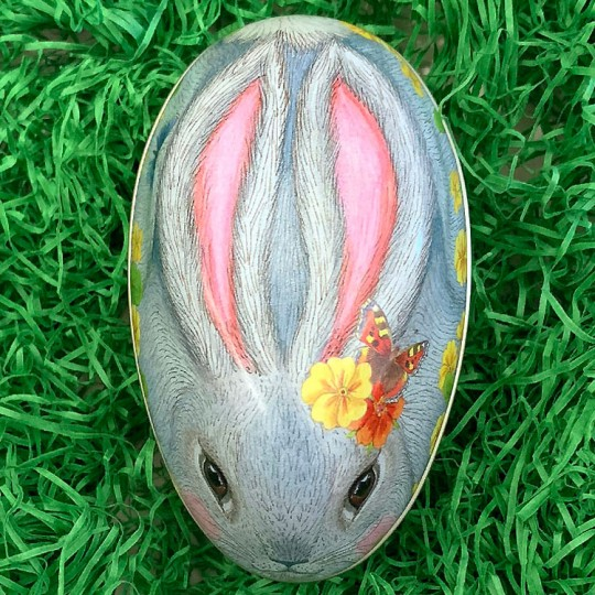 "Grey Bunny and Yellow Flowers Metal Easter Egg Tin ~ 4-1/4"" tall"