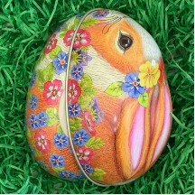 "Calico Bunny and Flowers Metal Easter Egg Tin ~ 4-1/4"" tall"