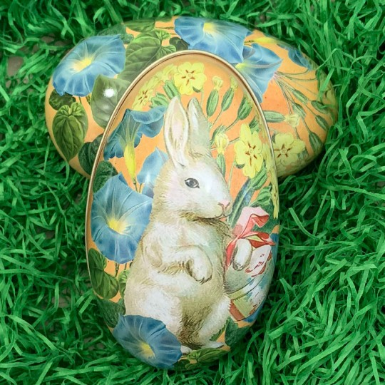 "White Bunny Floral Metal Easter Egg Tin ~ 4-1/4"" tall"