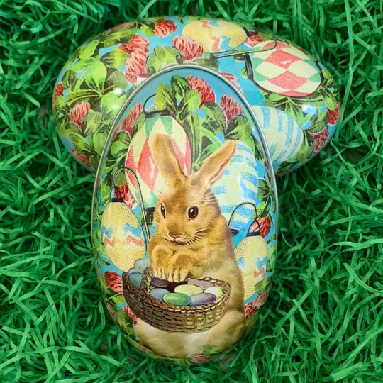 "Brown Bunny Floral Metal Easter Egg Tin ~ 4-1/4"" tall"