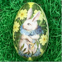 "White Bunny Yellow Floral Metal Easter Egg Tin ~ 4-1/4"" tall"