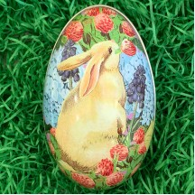 "Cream Bunny Mixed Floral Metal Easter Egg Tin ~ 4-1/4"" tall"