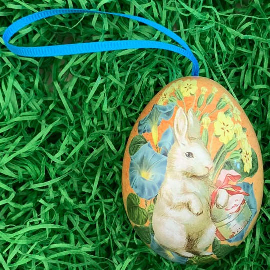 """White Bunny Floral Metal Easter Egg Tin and Ornament~ 2-3/4"""" tall"""