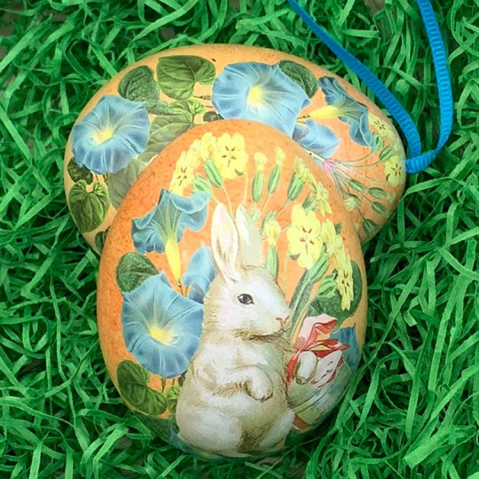 "White Bunny Floral Metal Easter Egg Tin and Ornament~ 2-3/4"" tall"