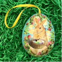"Brown Bunny Floral Metal Easter Egg Tin and Ornament ~ 2-3/4"" tall"