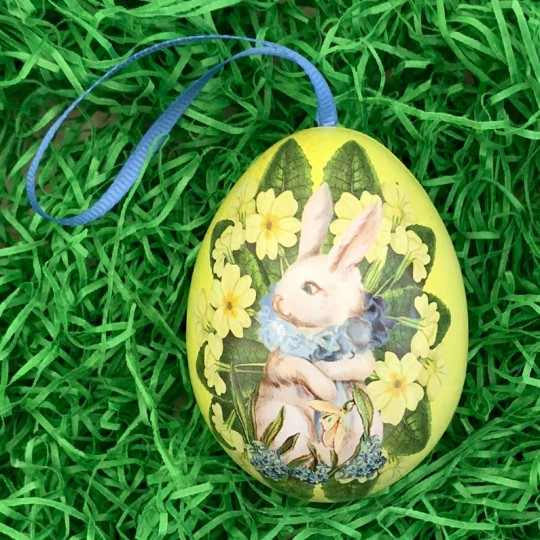 """White Bunny Yellow Floral Metal Easter Egg Tin and Ornament ~ 2-3/4"""" tall"""