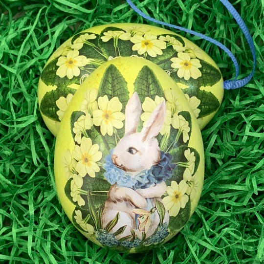 "White Bunny Yellow Floral Metal Easter Egg Tin and Ornament ~ 2-3/4"" tall"