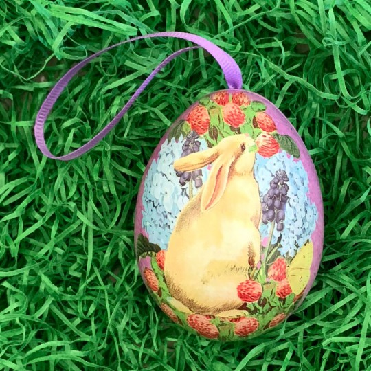 "Cream Bunny Mixed Floral Metal Easter Egg Tin and Ornament ~ 2-3/4"" tall"