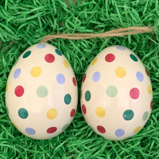 "Mixed Polka Dots Metal Easter Egg Tin and Ornament ~ 2-3/4"" tall"