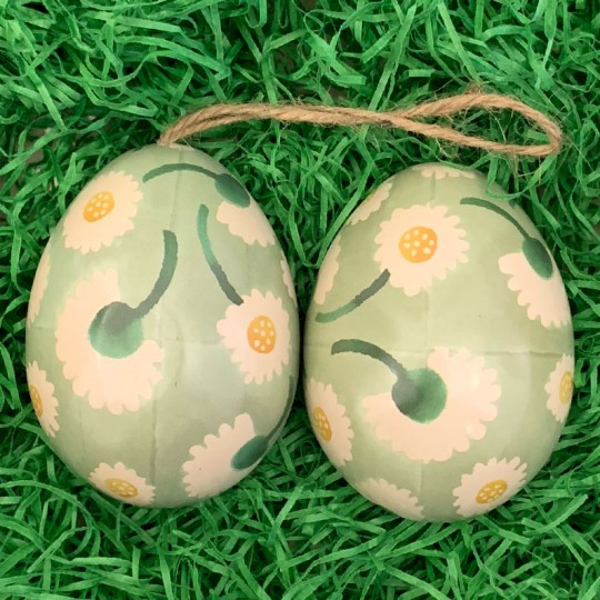 "Green Floral Metal Easter Egg Tin and Ornament ~ 2-3/4"" tall"