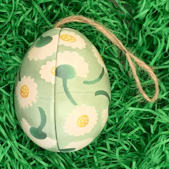 """Green Floral Metal Easter Egg Tin and Ornament ~ 2-3/4"""" tall"""