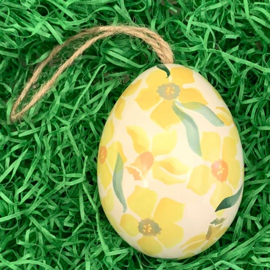 "Yellow Daffodil Floral Metal Easter Egg Tin and Ornament ~ 2-3/4"" tall"