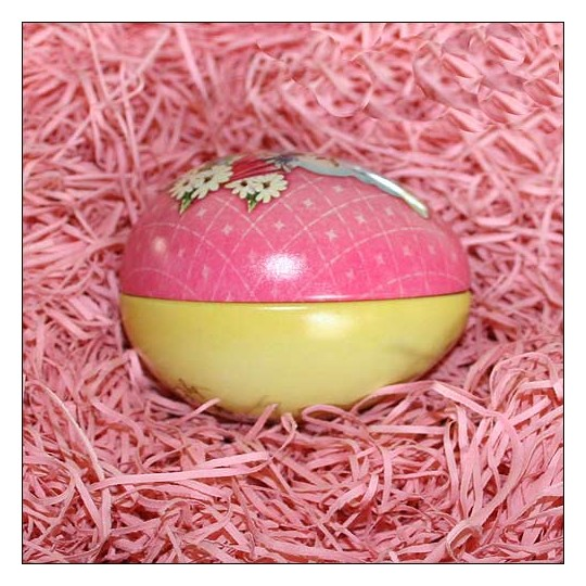 """Pink Easter Chick Metal Easter Egg Tin ~ 2-3/4"""" tall"""