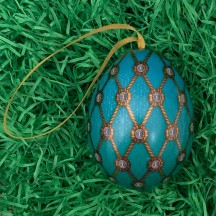 "Aqua Net Faberge Inspired Floral Metal Easter Egg Tin and Ornament ~ 2-3/4"" tall"