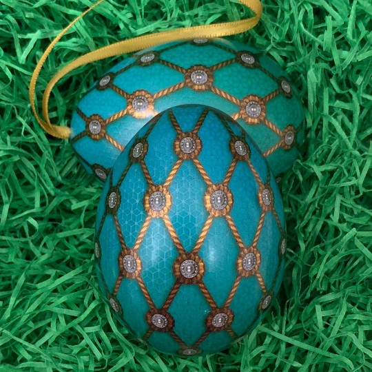 """Aqua Net Faberge Inspired Floral Metal Easter Egg Tin and Ornament ~ 2-3/4"""" tall"""
