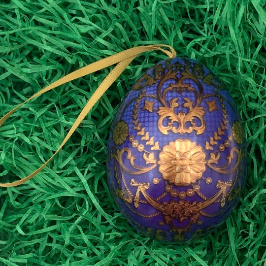 "Blue Russian Inspired Fancy Metal Easter Egg Tin and Ornament ~ 2-3/4"" tall"