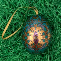 "Teal Russian Inspired Fancy Metal Easter Egg Tin and Ornament ~ 2-3/4"" tall"