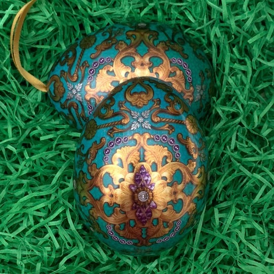 """Teal Russian Inspired Fancy Metal Easter Egg Tin and Ornament ~ 2-3/4"""" tall"""