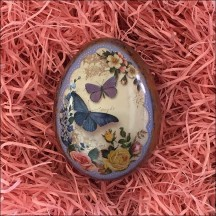 """Butterflies and Roses Metal Easter Egg Tin ~ 2-3/4"""" tall"""