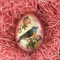 "Birds and Roses Metal Easter Egg Tin ~ 2-3/4"" tall"