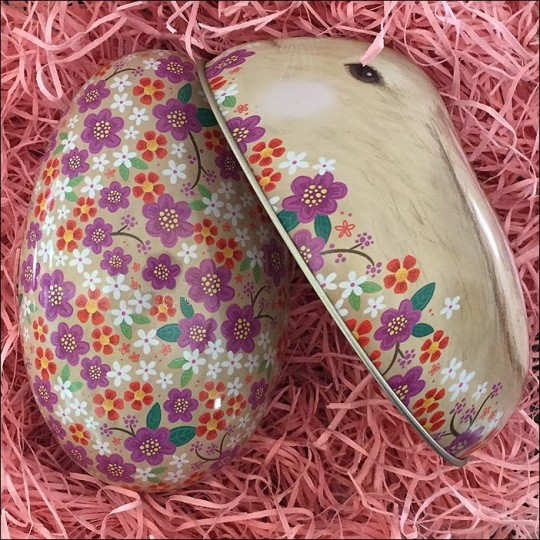"Blonde Bunny and Flowers Metal Easter Egg Tin ~ 4-1/4"" tall"