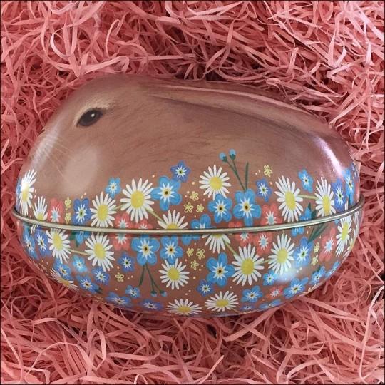 "Brown Bunny and Flowers Metal Easter Egg Tin ~ 4-1/4"" tall"