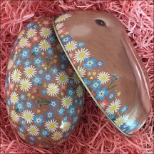 "Brown Bunny and Flowers Metal Easter Egg Tin ~ 4-1/4"" tall"