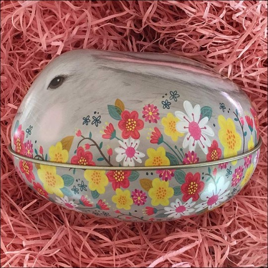 "Grey Bunny and Flowers Metal Easter Egg Tin ~ 4-1/4"" tall"