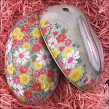 "Grey Bunny and Flowers Metal Easter Egg Tin ~ 4-1/4"" tall"