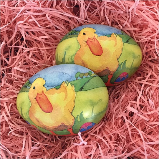 "Duck and Eggs Metal Easter Egg Tin ~ 2-3/4"" tall"