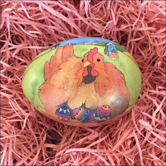 "Rooster and Eggs Metal Easter Egg Tin ~ 2-3/4"" tall"