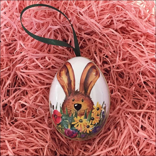 """Bunny and Flowers Metal Easter Egg Ornament Tin ~ 2-1/2"""" tall"""