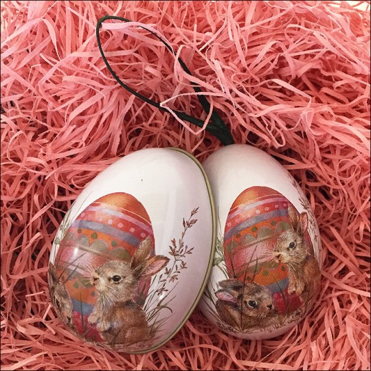 "Bunnies with Colorful Egg Metal Easter Egg Ornament Tin ~ 2-1/2"" tall"