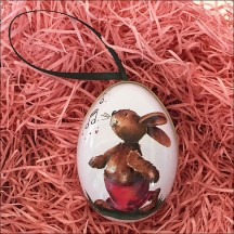 "Cheerful Bunny Metal Easter Egg Ornament Tin ~ 2-1/2"" tall"