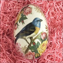 "Birds and Roses Metal Easter Egg Tin ~ 4-1/4"" tall"