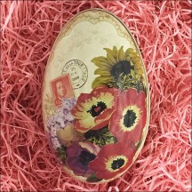 "Anemone and Flowers Metal Easter Egg Tin ~ 4-1/4"" tall"