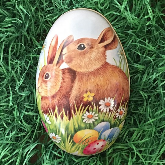 """Large Bunnies with Eggs Metal Easter Egg Tin ~ 5"""" tall"""