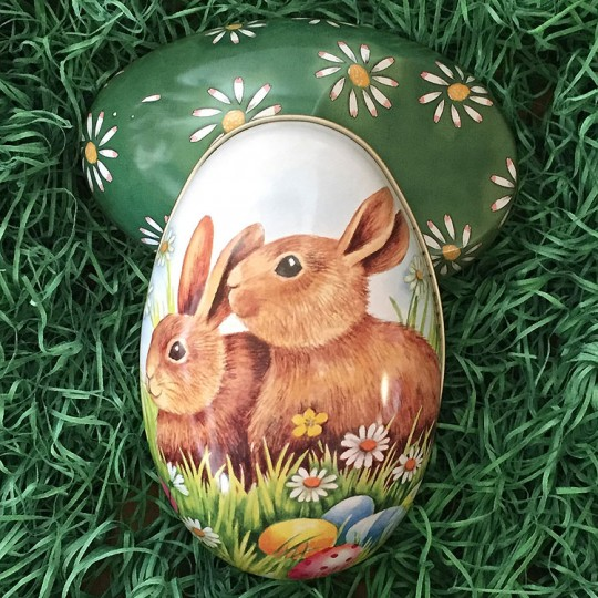 "Large Bunnies with Eggs Metal Easter Egg Tin ~ 5"" tall"