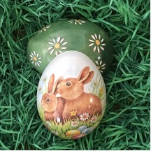 "Small Bunnies with Eggs Metal Easter Egg Tin ~ 2-3/4"" tall"