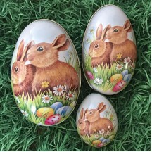 Set of 3 ~ Bunnies with Eggs Metal Easter Egg Tin ~ Germany
