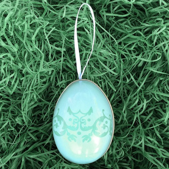 "Pale Teal Flourish Two-Tone Metal Easter Egg Ornament Tin ~ 2-1/2"" tall"