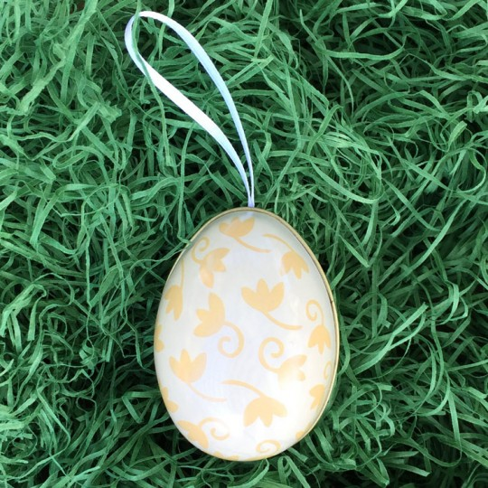 """Yellow Floral Two-Tone Metal Easter Egg Ornament Tin ~ 2-1/2"""" tall"""
