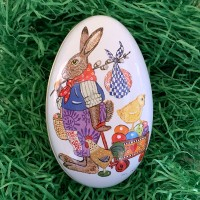 """Bunny Delivering Eggs Metal Easter Egg Tin ~ 4-1/4"""" tall"""
