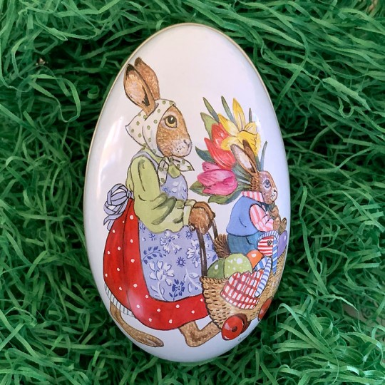 """Bunnies with Flowers Metal Easter Egg Tin ~ 4-1/4"""" tall"""