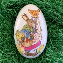 """Bunny with Hen Metal Easter Egg Tin ~ 4-1/4"""" tall"""