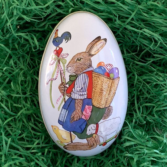 "Bunny with Egg Backpack Metal Easter Egg Tin ~ 4-1/4"" tall"