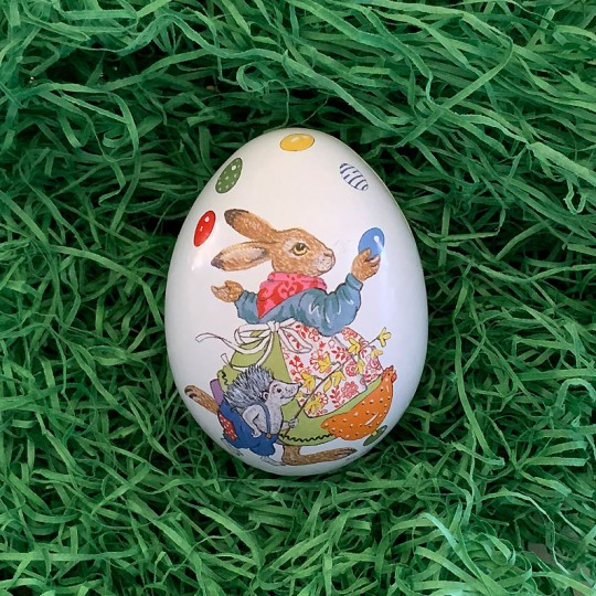 "Small Bunny Juggling Eggs Metal Easter Egg Tin ~ 2-3/4"" tall"