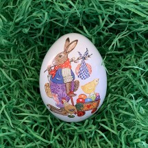 "Small Bunny Delivering Eggs Metal Easter Egg Tin ~ 2-3/4"" tall"